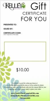 $10 Gift Certificate for Kelley Oils