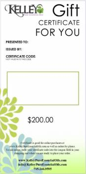 $200 Gift Certificate for Kelley Oils