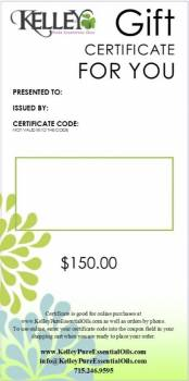 $150 Gift Certificate for Kelley Oils
