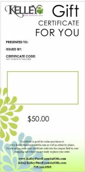 $50 Gift Certificate for Kelley Oils