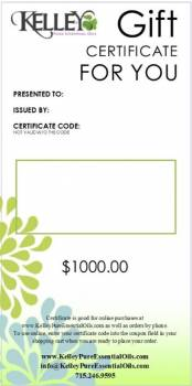 $1000 Gift Certificate for Kelley Oils