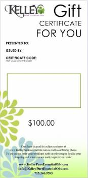 $100 Gift Certificate for Kelley Oils
