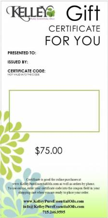 $75 Gift Certificate for Kelley Oils