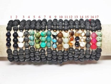 Lava & Genuine Gemstones Aromatherapy Diffuser Bracelet