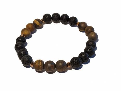 10 - Lava & Matte Tiger Eye Aromatherapy Diffuser Bracelet