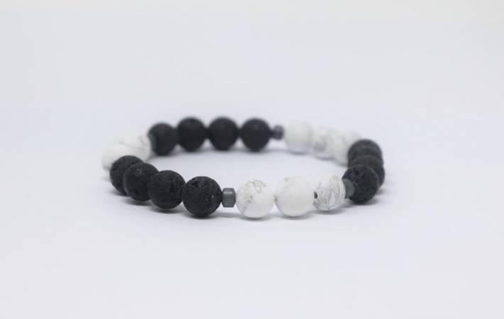 3 - Lava & White Howlite Aromatherapy Diffuser Bracelet