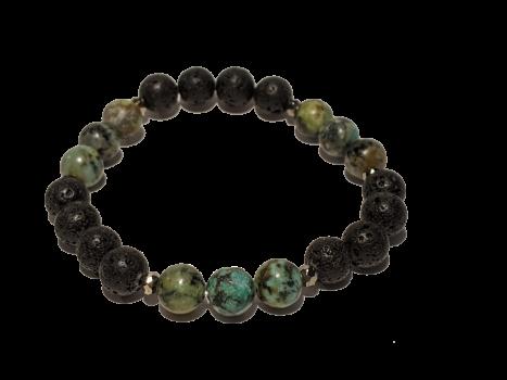 6 - Lava & Green Jasper Aromatherapy Diffuser Bracelet