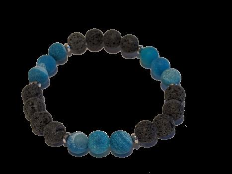 8 - Lava & Matte Blue Agate Aromatherapy Diffuser Bracelet