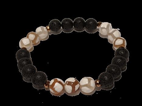 12 - Lava & Brown|White Agate Aromatherapy Diffuser Bracelet
