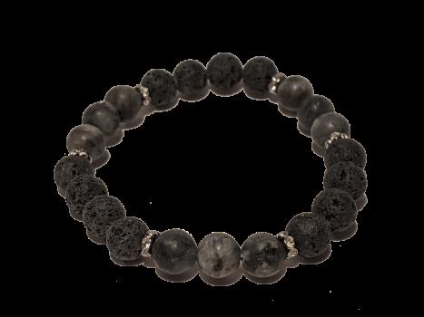 15 - Lava & Black Jasper Aromatherapy Diffuser Bracelet