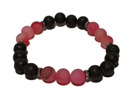 16 - Lava & Hot Pink Agate Aromatherapy Diffuser Bracelet