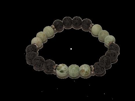 17 - Lava & Matte Green Agate Aromatherapy Diffuser Bracelet