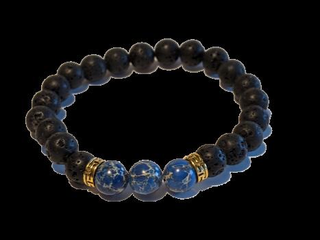 1 - Lava & Blue Sea Sediment Jasper Gemstones Aromatherapy Diffuser Bracelet