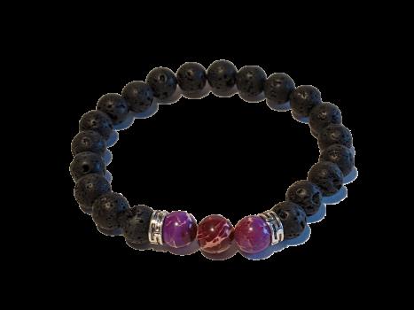 2 - Lava & Purple Sea Sediment Jasper Gemstones Aromatherapy Diffuser Bracelet