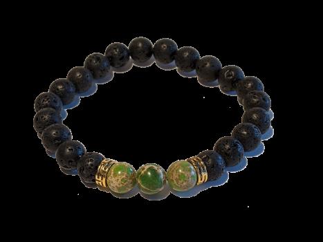 4 - Lava & Green Sea Sediment Jasper Gemstones Aromatherapy Diffuser Bracelet