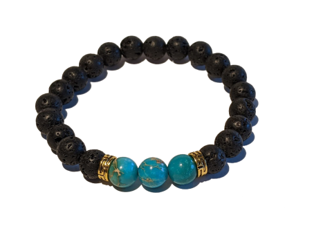 5 - Lava & Light Blue Sea Sediment Jasper Gemstones Aromatherapy Diffuser Bracelet