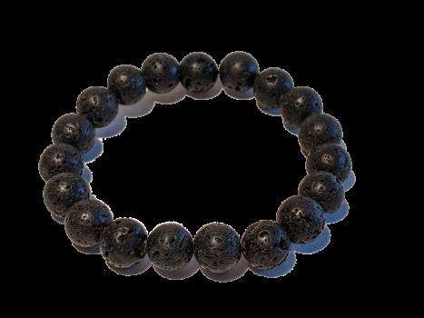 5 - Black 10mm Lava Aromatherapy Diffuser Bracelet