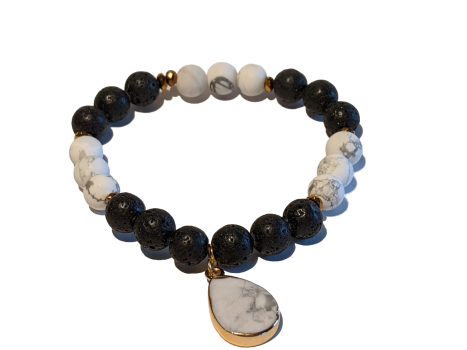 4 - Lava & White Howlite Dangle Aromatherapy Diffuser Bracelet