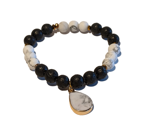 4 - Lava & White Howlite Dangle Aromatherapy Diffuser Bracelet