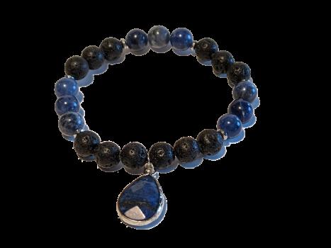6 - Lava & Lapis Lazuli Dangle Aromatherapy Diffuser Bracelet