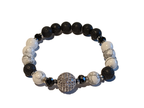 Lava & CZ Aromatherapy Diffuser Bracelet